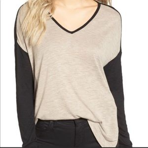 Madewell Color Block Black Tan Long Sleeve Tee M
